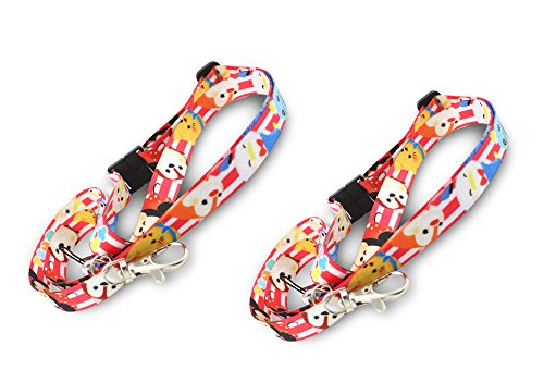 Finex - SET OF 2 - Tsum Tsum Premium Lanyard Keychain Holder with lobster clasp snap buckle thread chain for Badges keys ID holder Coin Purse Phones iPod Camera