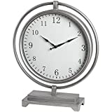 Hill Interiors Silver Round Mantel Clock Hanging Within Frame (One Size) (Silver)