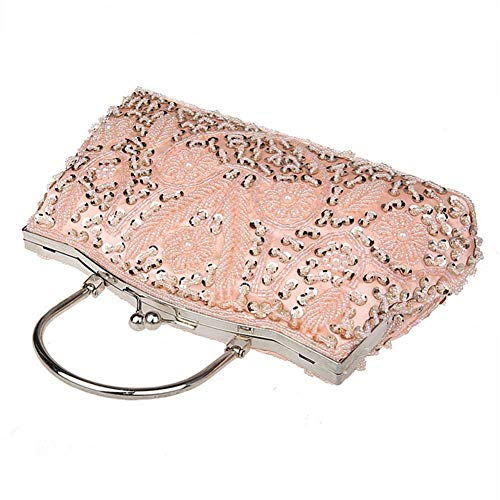 Champagne Pearl Fiveschoice Clutch Evening Clutch Dress Wedding Tote Fashion Women's Sequined Party Wedding Beaded Shoulder Beaded Vintage for Bag tUw4qrSUW
