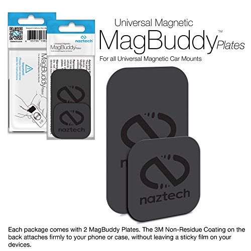 Naztech MagBuddy Ultra-Thin Plates. 2 Extra/Spare Plates for your MagBuddy Magnetic Mount, Get All Your Mobile Devices Mount-Ready Safe For iPhone X/8/8 Plus,Samsung S9 /S9+/ Note 8/Smartphones & ()