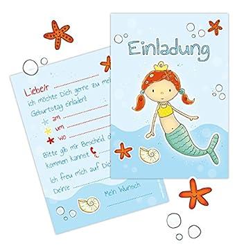 10 Einladungen Zum Kindergeburtstag U0026quot;MEERJUNGFRAU MALINu0026quot;  Poolparty, Geburtstag Im Schwimmbad