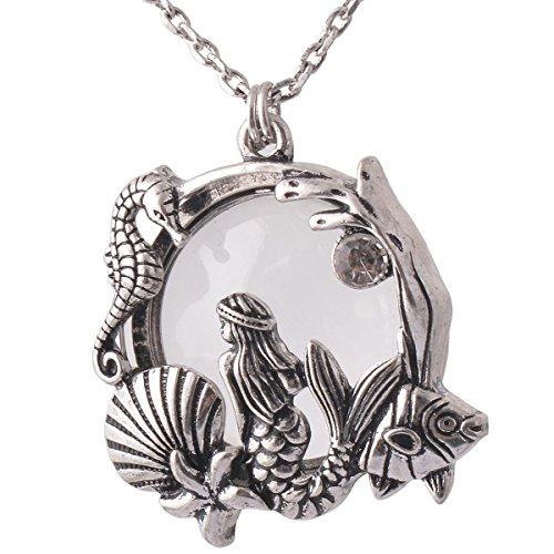 Mermaid Sea Horse Magnifier Pendant Necklace Antiqued Gold Antiqued Sliver 18