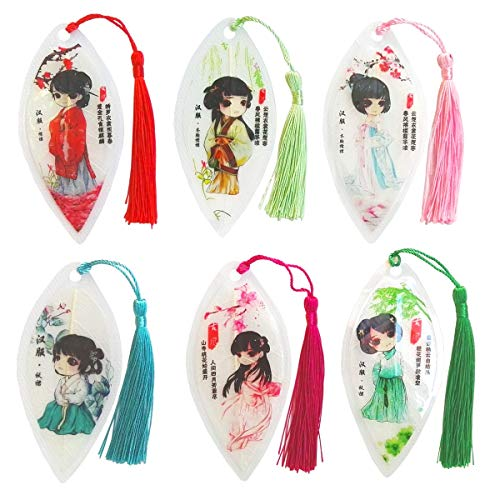 6 Pieces Handmade Leaf Vein Bookmarks with Tassels Han Chinese Clothing Best Gift for Your Friends Kids Student Souvenirs Business Gift Christmas Gift Birthday Gift
