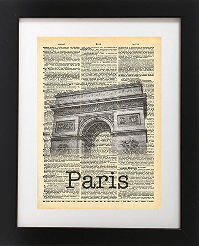 Arc de Triomphe - Paris France Vintage Dictionary Print 8x10 inch Home Vintage Art Abstract Prints Wall Art for Home Decor Wall Decorations For Living Room Bedroom Office - To Usps France Shipping