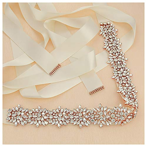 Crystal Rhinestone Braided Wedding Belts - Handmade Rhinestone Belt 18In Length for Bridal Bridesmaid Gowns ()