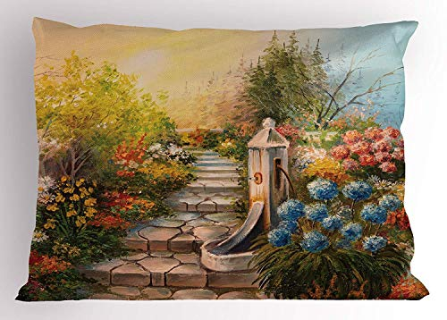 (K0k2t0 Flower Pillow Sham, Opium Poppy Field and Beautiful Yard Sunset Over The Ocean Under The Clouds Picture, Decorative Standard Queen Size Printed Pillowcase, 30 X 20 inches, Multicolor)