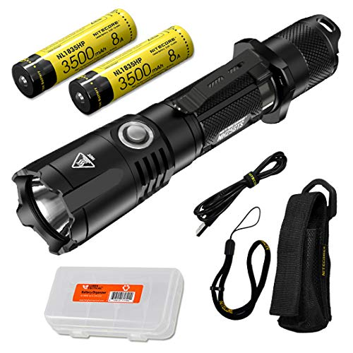 NITECORE MH25GTS 1800 Lumen Rechargeable Tactical Flashlight with 2x High Performance Batteries and LumenTac Battery Organizer