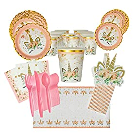 LHM Unicorn Birthday Party Supplies for 16 Guests, Dinner and Dessert Plates, Cups, Napkins, Tablecloth, Pink-Striped Straws, Cutlery – Fun Unicorn-Themed Birthday or Baby Shower Event
