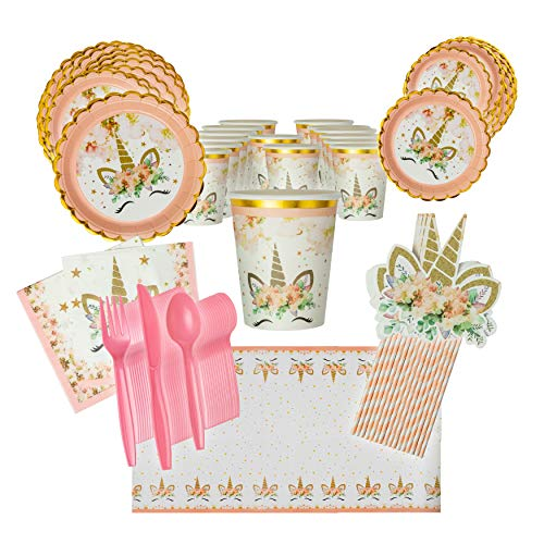 LHM Unicorn Birthday Party Supplies for 16 Guests, Dinner Plates,Dessert Plates, Unicorn Cups, Napkins, Tablecloth, Pink-Striped Straws, Cutlery| Fun Unicorn-Themed Birthday & Event Party Supplies,