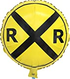 "Railroad Sign Balloon (18"" Round Foil Mylar Balloon) Railroad/Train Party Collection by Havercamp"