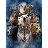 5D Full Diamond Painting Kit, DIY Rhinestone Embroidery Full Drill Cross Stitch Arts Craft for Home Wall Decor Deer Bear & Wolf 11.8 * 15.7 inch