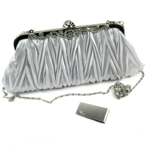 Shoulder Straps Satin (Missy K Pleated Clutch Purse, Satin, with 2 Detachable Straps - Silver + kilofly Money Clip)