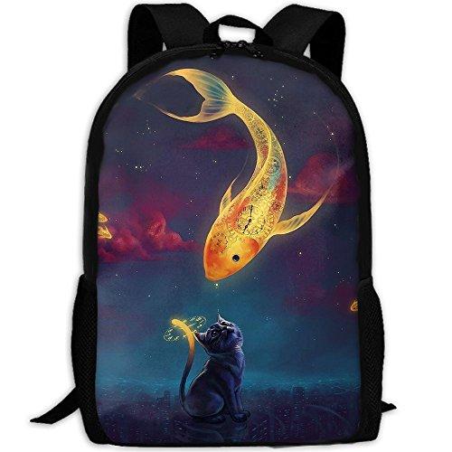 Kitten Sprayer (Art Fantasy Goldfish Kitten Night Stars Backpack Briefcase Laptop Travel Hiking School Bags Stylish Daypacks Shoulder Bag)