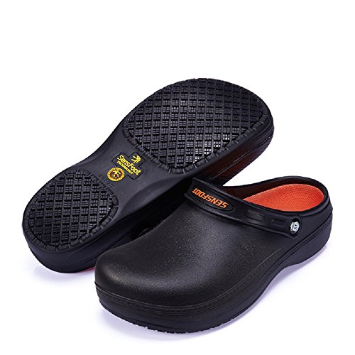 Slip Resistant Chef Clog Mule - SW08 Non Slip Work Shoes Black for Men Women