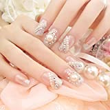 Spritech(TM) 24 Pre Design Elegant Flower Bling Pearl Rhinestone Fake Nail Piece for Bride Salon Laday Daily Use