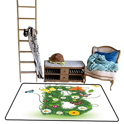 (Decorative Floor mat,Uppercase B Sign with Flourishing Daisies Exotic Garden Plants Butterflies Fresh 5'x6',Can be Used for Floor Decoration)