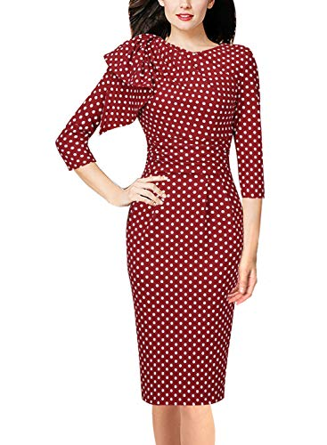 VFSHOW Womens Elegant Polka Dot Print Ruched Cocktail Party Bodycon Dress 1569 RED XL ()