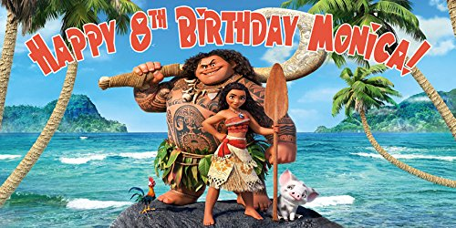 Moana Personalized Birthday Banner/Backdrop