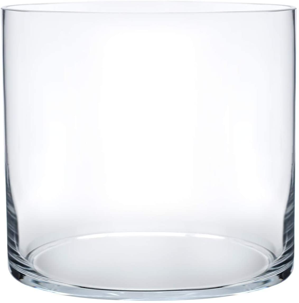 "Royal Imports Flower Glass Vase Decorative Centerpiece for Home or Wedding Cylinder Shape, 8"" Tall, 8"" Opening, Clear"