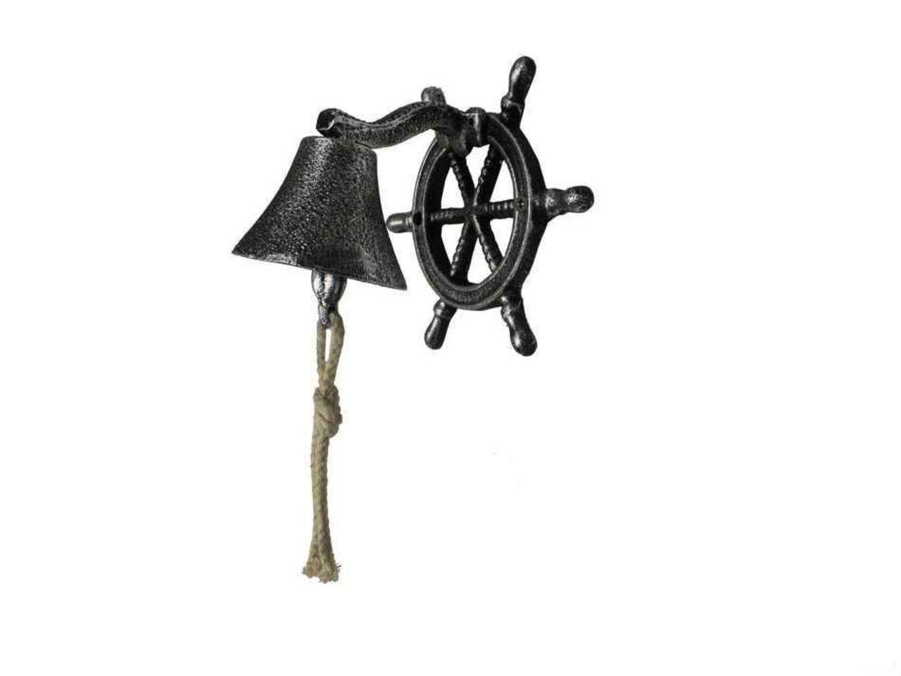 Hampton Nautical  Cast Iron Hanging Ship Wheel Bell Antique Bronze