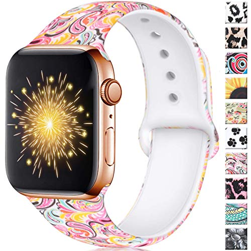 Haveda Floral Compatible for Apple Watch Band 42mm Women, Breathable iwatch 44mm Series 4 Series 5 Pattern Printed Silicone Sport Wristbands for Men Kids Apple Watch Series 3/2/1, M/L Colorful Cloud