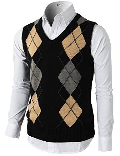 Jumper Argyle - H2H Men's Broadview Sweater Vest Black US M/Asia L (CMOV033)