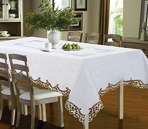 d Table Cloth, Luxury Embroidered and Hand Cutwork Table Cloth, Top Dinner Kitchen Table Cover, 54 x 72 Inches, White ()