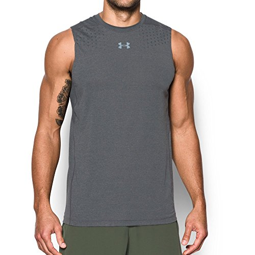 Sleeveless Twist (Under Armour Men's HeatGear CoolSwitch Twist Fitted Sleeveless, Carbon Heather/Graphite, XX-Large)