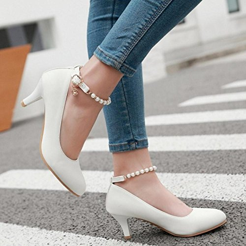 TAOFFEN Women Fashion Mid Thin Heel Buckle Straps Court Shoes Office Shoes White xTU6rglQ