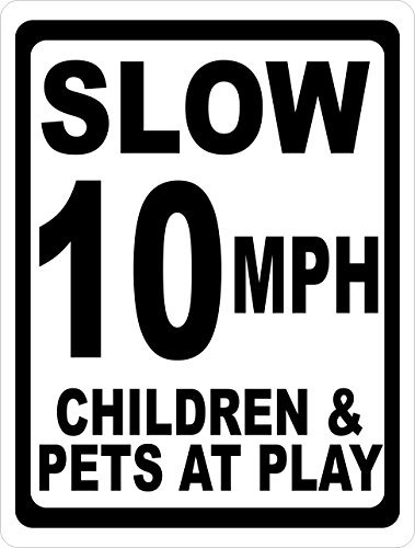 aqf527907 Slow 10 Mph Children & Pets At Play Sign Novelty Aluminum Metal Signs Vintage Outdoor Yard Signs Safety Warning Sign Tin Plate Plaque 8x12 Inches Help Keep Speeds Down