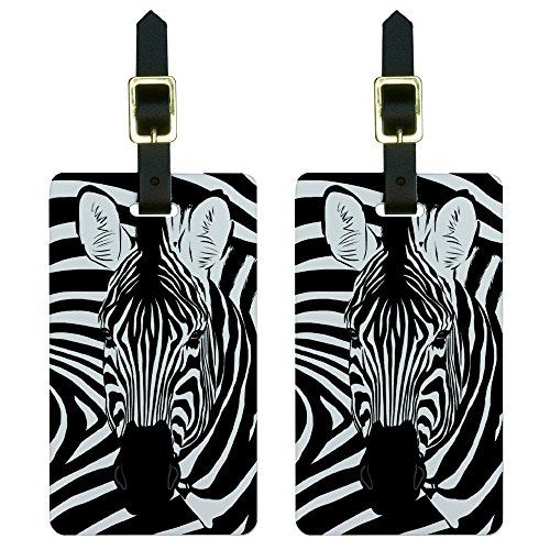 Graphics & More Zebra Safari Black Animal Print Luggage Tags Suitcase Carry-on...