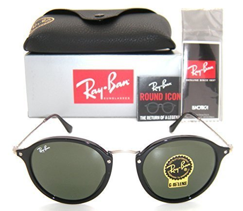 NEW Authentic Ray-Ban Round RB 2447 901 49mm Black Frame / Green - Sale Ban Ray Online