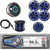 Dual Mechless AM/FM, MP3 USB Bluetooth Receiver with Dual Speakers 2-Pairs, Dual Subwoofer Speaker, Dual Marine Wired Remote Control, Enrock 50 Foot 16 Gauge Speaker Wire & Enrock Marine Antenna