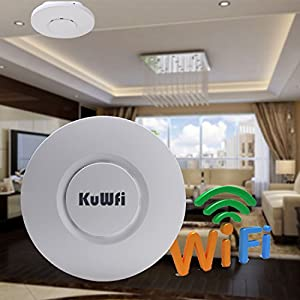 KuWFi Mini 300Mbps Wireless Ceiling Access Point Ceiling AP Router Ideal for Hotel, Café, Restaurants, small business office and other public places wi-fi solution
