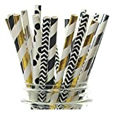 Graduation Party Supplies, Graduation Straws (25 Pack) - Black, Silver & Gold Graduation Party Decorations, Cap & Gown High School & College Graduate Parties Supply
