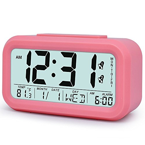 - Digital LCD Alarm Clock Battery Operated with Snooze, Optional Weekday Alarm and 12/24 Hr Mode, Intelligent Sensor Light & Temperature Large Display Desktop Clock for Bedroom/Office/Kitchen/Kids, Pink