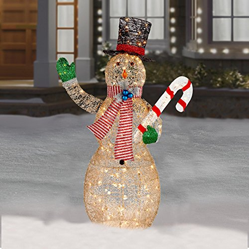 Fun funk with an outdoor lighted snowman 5 feet holiday lighted snowman holding candy cane christmas indoor outdoor decor mozeypictures Choice Image
