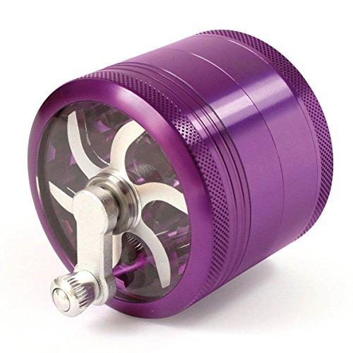 MasterGrind Mill 4 Piece Herb Grinder - Crank Handle Pollen Catcher - Large 2.5 Inch Purple Aluminum (Grinder For Weed Purple)