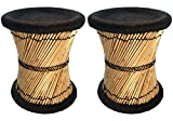 Natural Geo Moray Decorative Accent Stool Cushioned with Jute (2, Black) For Sale