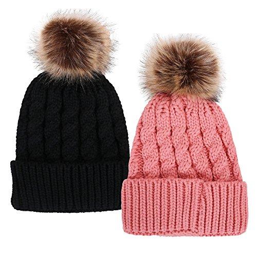 Simplicity Unisex Winter Hand Knit Faux Fur Pompoms Beanie 2 Pieces Black/Pink