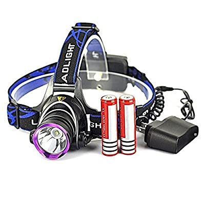 Ranphy 1800 Lumens LED Headlamp Rechargeable Flashlight 3 modes for Camping, Running, Hiking, Reading with Rechargeable Batteries + AC Charger