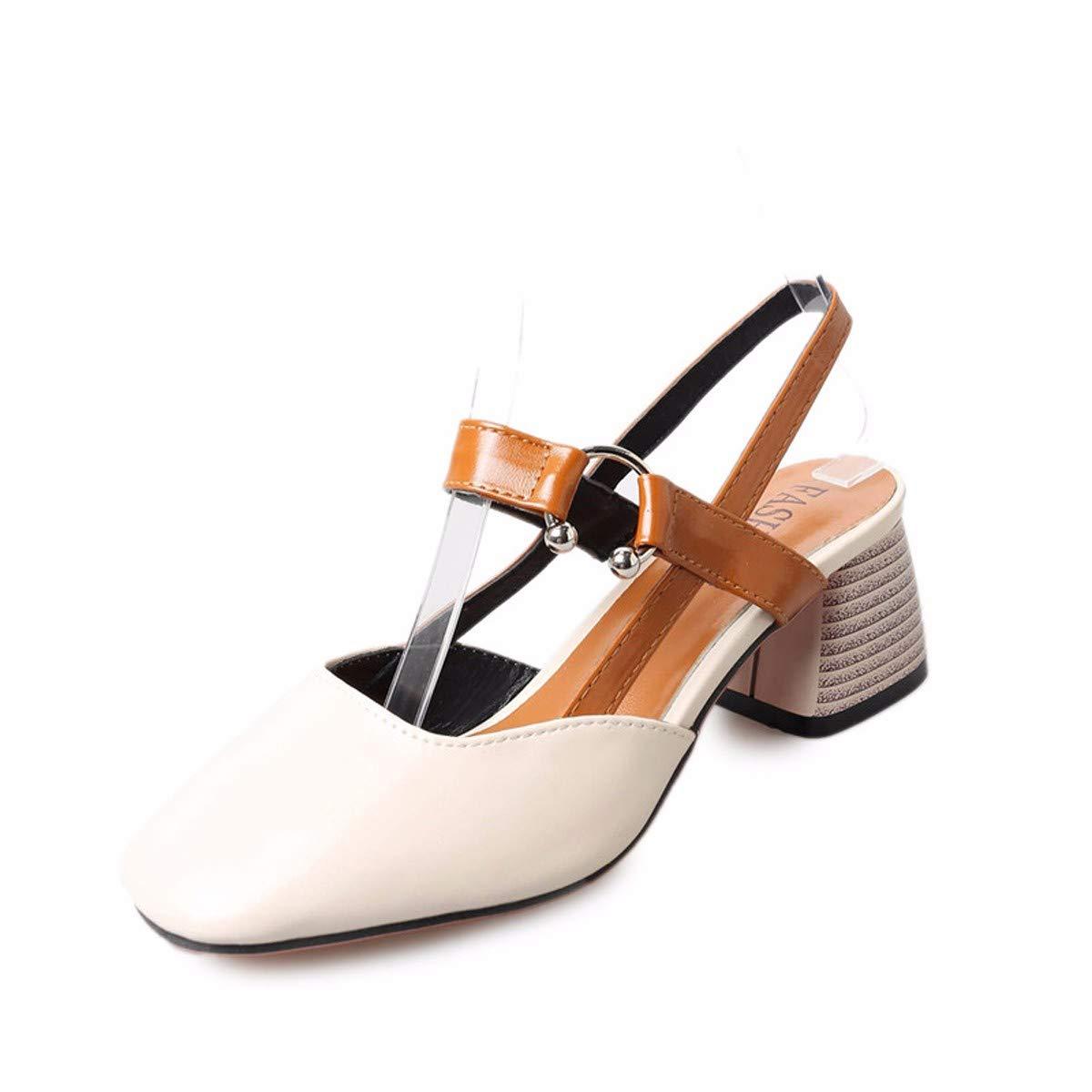 KPHY-Sommer Baotou Hart Bei Square Kopf Studierenden Jugend Mode Nahe Bei Wilden Schnalle Sandaleen 5Cm 36 Reis Weiß