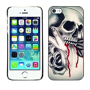 TopCaseStore / la caja del caucho duro de la cubierta de protección de la piel - Vampire Tattoo Fang Blood Ink Biker - Apple iPhone 5 / 5S