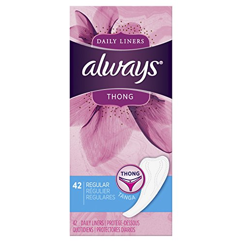Always Dailies Thong Panty Liners for Women, 42 Count - Pack of 8 (336 Count Total) (Pantiliners Kotex Thong)