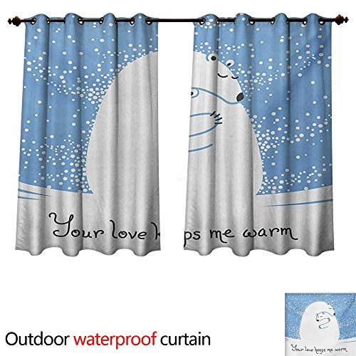 Babies Hemp Polar - WilliamsDecor Animal 0utdoor Curtains for Patio Waterproof Mother Polar Bear Hugging Her Baby in The Snow North Winter Love Valentines Art W96 x L72(245cm x 183cm)