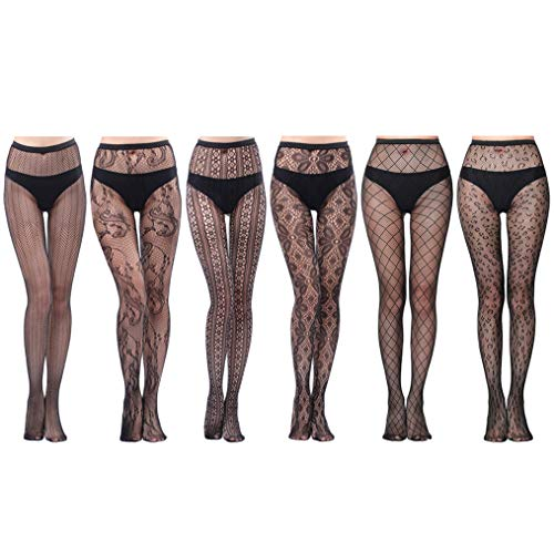 HOVEOX 6 Pairs Lace Patterned Tights Fishnet Floral Stockings Small Hole Pattern Leggings Tights Net Pantyhose