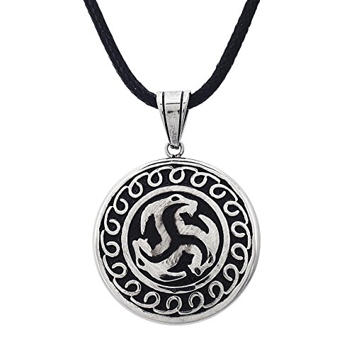 WILLOWBIRD Triple Dragon Head Circle Pendant on Black Cord Necklace for Men in Stainless Steel