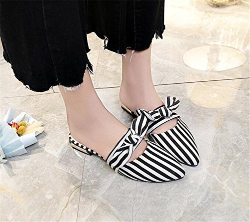 Summer Tie Slippers Toe Flat Female Women Shoes Flats Black Loafers Pointed Bow pit4tk Half Shoes Mules FYqaxddv
