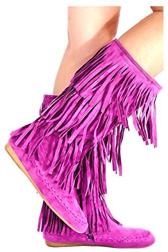 Lolli Couture Young Adidas Finto Camoscio Stile Mocassino Con Frange Viola