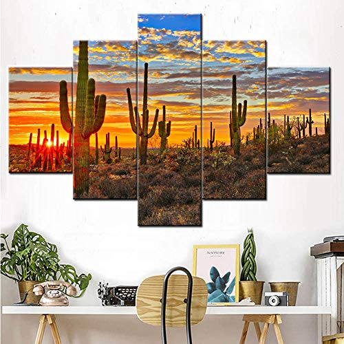 House Decorations Living Room American Landscape Pictures Arizona Desert Paintings Saguaro Cacti Mountains,Phoenix Wall Art 5 Pcs/Multi Panel Canvas Artwork Framed Stretched Ready to Hang(60''Wx40''H) ()
